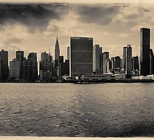 Sepia skyline of Manhattan from the East River by Reinvention