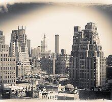 Postcard in black and white, Midtown Manhattan skyline   by Reinvention