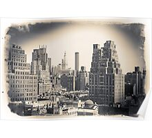 Postcard in black and white, Midtown Manhattan skyline   Poster