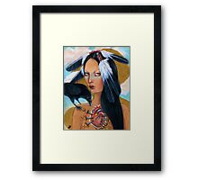 Wounded crow sacred heart woman portrait Framed Print