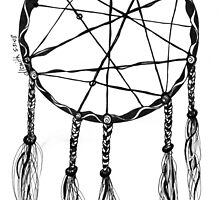 Dream Catcher, Black and White Doodle, Pen and Ink by Danielle J. Scott (Smith)