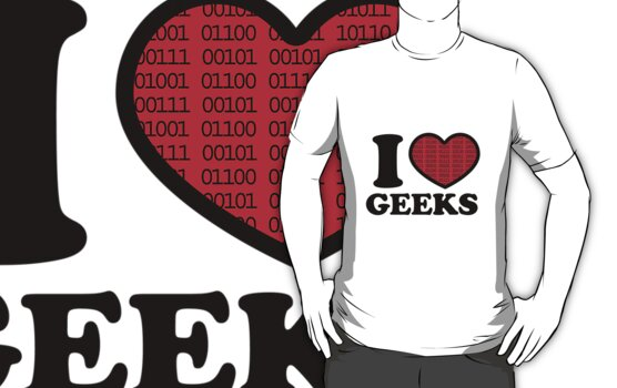 I Love Geeks Binary (Red) by Laura Clitheroe