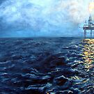 Oil rig at night by Carole Russell