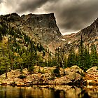 Surreal HDR of Rocky Peninsula at Dream Lake by EvergreenImp