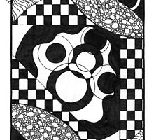 Abstract Doodle, Pen and Ink, Black and White by Danielle J. Scott (Smith)