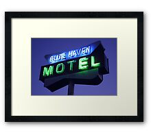 Blue Haven Motel Sign Framed Print