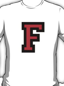 Letter F Black Red Character T-Shirt