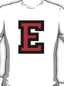 Letter E Black Red Character T-Shirt