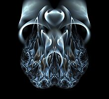 Blue Flame Skull - PostCardArt by owlspook