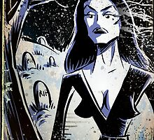 Vampira Plan 9 From Outer Space Outerspace Ed Wood B-movie Bmovie Cult Classic film movie schlock bad movie female girl elvira black hair mistress of the dark horror host sci fi science fiction by Joe Badon