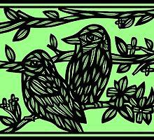 Assemblage Bird Green Black by martygraw