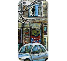 PAINTINGS OF MONTREAL RUE NOTRE DAME WINTER SCENE iPhone Case/Skin