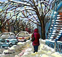 WALKING PAST THE BLUE STAIRCASE VERDUN MONTREAL WINTER SCENE by Carole  Spandau