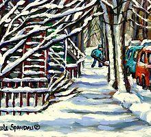 CANADIAN WINTER SCENE MONTREAL CITY SCENE PAINTINGS by Carole  Spandau