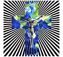 Climate Change Cube Earth Op Art Pop Jesus Photographic Print