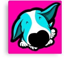 Big Nose Bull Terrier Puppy Aqua Canvas Print