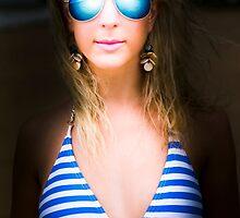 Retro girl in blue shades by Ryan Jorgensen