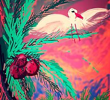 Coco palm temps seagull by Anna  Lewis
