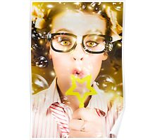 Pretty Geek Girl At Birthday Party Celebration Poster