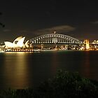 Sydney Harbour Bridge & Opera House at night by Trevor Needham