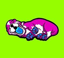 Sleepy Puppy Shocking Pink and Blue by Sookiesooker