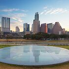 Austin Skyline Reflection from the Long Center by RobGreebonPhoto