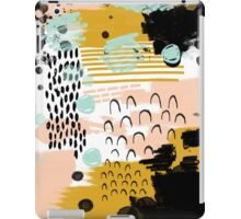 Ames - modern abstract painting in free mark making colors navy mint gold white blush iPad Case/Skin