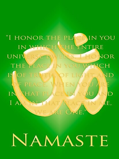 Om or Aum Symbol with Namaste quote Green by Heidi Hermes