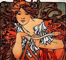 'Cycles Perfecta' by Alphonse Mucha (Reproduction) by Roz Abellera Art