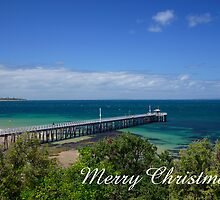 Queenscliff Pier, Merry Christmas by Steven Weeks