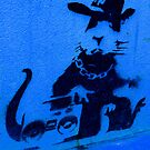 Banksy Gangsta Rat - Blue by Kiwikiwi