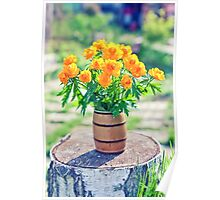 vase filled by beautiful spring orange flowers of globeflowers on the stub Poster