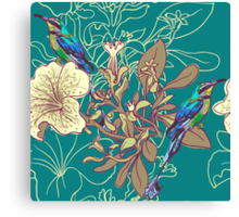 Seamless floral background with petunia Canvas Print