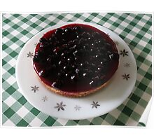 Blackcurrant Cheesecake on Retro Pyrex Plate Poster