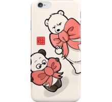Panda And Polar Bear In Ribbons iPhone Case/Skin