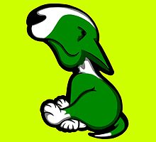 Innocent English Bull Terrier Puppy Green  by Sookiesooker