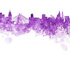Sao Paulo skyline in purple watercolor on white background by paulrommer