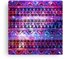 Girly Andes Aztec Pattern Pink Teal Nebula Galaxy Canvas Print