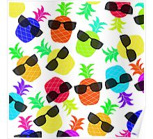 """Seriously Cool Ananas"" - Ananas Fruit Tropical Hot Pink Neon Fuchsia Fluorescent Orange Green Teal Purple Ultraviolet Yellow Sunglasses Lime Cool Super Fantastic Silly Cute Funny Humor   Poster"