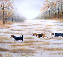Three Beagles And A Bunny by cgret82