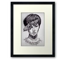 Girl with Moth Framed Print