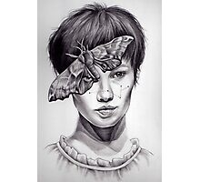 Girl with Moth Photographic Print