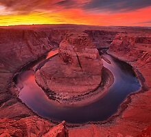Horseshoe Bend Fiery Sunset by AdamJewell