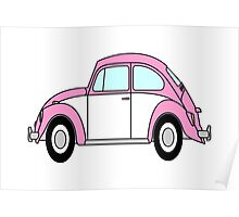 Vw Beetle T Shirt Pink Poster