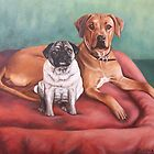 Pug and Rhodesian Ridgeback by Nicole Zeug