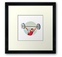 Weightlifter Lifting Barbell Circle Low Polygon Framed Print