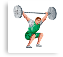 Weightlifter Lifting Barbell Low Polygon Canvas Print