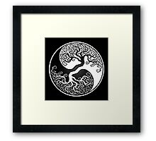 White and Black Tree of Life Yin Yang Framed Print