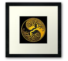 Yellow and Black Tree of Life Yin Yang Framed Print