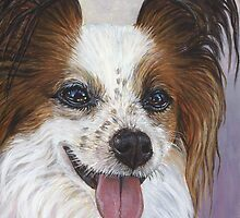 Portrait of a Papillon Dog by artbyakiko